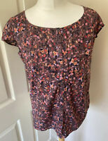 Fat Face Floral Ditsy Short Sleeved Blouse 12 Buttin Front Cotton