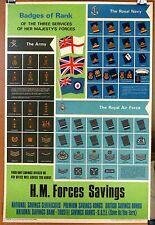 Rare Badges of Rank Royal Navy Army Air Force British Savings Bonds Poster 1974