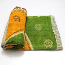 Vintage Quilt Indian Handmade Organic Cotton Bedspread Stylish Throw Bedding