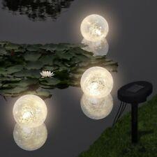 vidaXL Schwimmleuchte Solarkugel Schwimmkugeln 3x LED Kugelleuchte Solar Leuchte