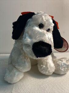 "Dan Dee White Plush Dog 10"" Happy Valentine's Day Heart Nose Soft Toy Stuffed"