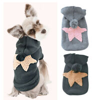 Thin Knitted Dog Sweater With Star Warm Pet Clothes Puppy Cat Knitwear Washable