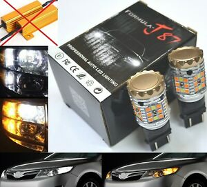 Canbus LED Switchback Light White Amber CK 3157 Two Bulb Front Turn Signal Stock