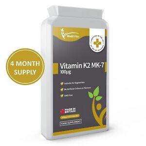 Vitamin K2 MK7 100mcg Capsules Vit K Vascular & Bone Health Vegetarian UK Made