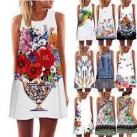 HOT Vintage Boho Women Summer Sleeveless Beach Printed Short Dress Top T Shirt