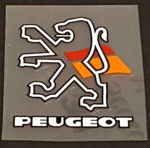 Peugeot Head Badge Decal - White/Black Outline Lion (sku Peug703)