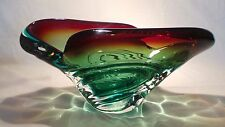 VINTAGE MURANO TWISTED GREEN /BLUE GLASS BOWL