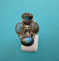 925 Sterling Silver Ring With Natural Firy Labradorite Size M US 6.25 (rg2424)