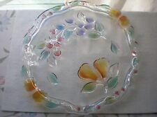 "Mikasa Crystal 13 1/2"" Cake Plate Golden Harvest Fruit 3D Design Germany"