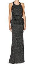 2392-2 Calvin Klein Womens Black Silver Ruched Halter Neck Gown Dress Sz 12 $249