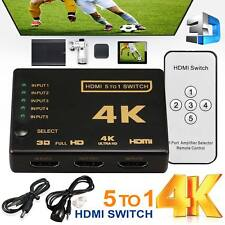 5 Port HDMI 4K Switch Switcher Selector Splitter Hub iR Remote For HDTV 3840p KF