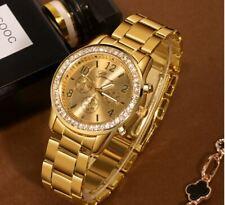 Orologio Donna Geneva Dorato Metallo Alta Qualita Diamanti Classico Elegante