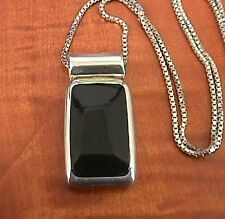 Large Black Onyx Rectangle Stone Mexico Sterling Silver 925 Pendant NECKLACE
