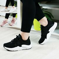 WOMENS LADIES FLAT SPORT RUNNING TRAINERS LACE UP PUMPS GYM FITNESS SHOES SIZE