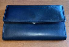 Women's Wilsons Leather Plain Black Leather Tri Fold wallet Card slots Nice