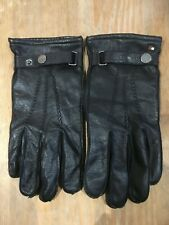 Tommy Hilfiger 100% Goat Skin Black Leather Gloves Mens Size L/XL Immaculate