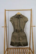 Bebe Women's Military Style Brown Button Front With Elastic Belt Dress Size XS