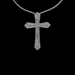 Platinum & Gold Round Diamond Cross Pendant Necklace MSRP: $3,500