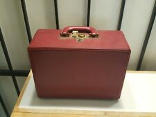 Vintage 1940-50's Shortrip Red Leather Train Luggage Make Up Case Mirror and Key