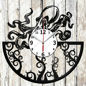 Octopus Vinyl Record Clock Handmade Home Decor Original Gift 3333