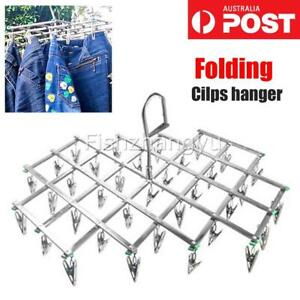 packs of 10 Clothes Line Stainless Steel Coat Hanger Clips Aussie Hanger Clips