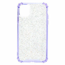 Claire's Clear Lavender Glitter Protective Phone Case - Fits iPhone 11 Clear/Pu