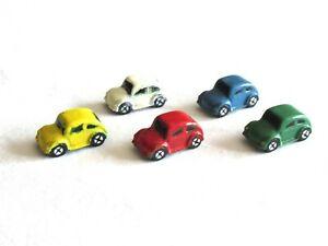 Vtg Lot of 5 Miniature Dollhouse Porcelain Childs Toy VW Volkswagen Bug Car 1:12