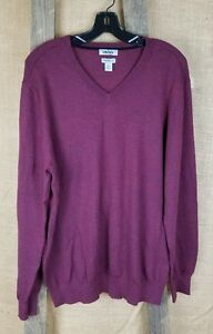 DKNY men XL merino wool blend sweater long sleeve Burgundy