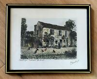 "Signed Hand Colored Etching by French MAURICE JACQUE ""Barbizon Maison de corot"""