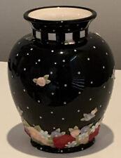 "Vtg MARY ENGLEBREIT Vase Black Polka Dot and  Raised Bright Flowers, 6.5"", Cute!"