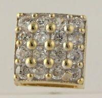 SINGLE 0.80 Ct Diamond Cluster Square Stud Pierced Earrings 14k Yellow Gold GP