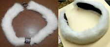 New Genuine White Mink Fur Choker Necklace AND Headband