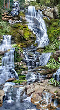 Waterfall Panel by Timeless Treasures-Rocks-Moss-Trees-Mountain-Water