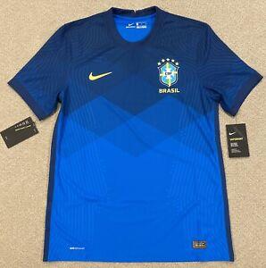 Nike Brazil 2020 Vaporknit Away Match Soccer Jersey CD0597-427 Mens Size M Slim