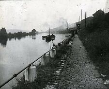 Péniche c. 1900 - Cheval Chemin de Halage - Positif Verre 10 x 8 - 174