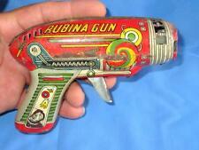 Vintage Old Collectible Children Playing Rubina Fire Sparkle Gun Tin Toy Japan??