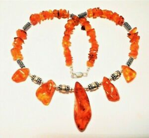 """AMBER NECKLACE GENUINE BALTIC """"ONE OFF"""" STERLING SILVER, 45CM """"NEW"""" AUZ MADE"""