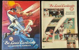 Pair ST LOUIS CARDINALS Souvenir Yearbooks 1973 & 1974 Baseball MLB