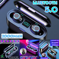 bluetooth 5.0 TWS Earbuds Wireless Stereo HiFi LED Earphones Waterproof Sports ❤