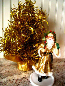 "GOLD 6.75 SANTA & TINSEL CHRISTMAS TREE ARTIFICIAL SMALL MINI TABLE TOP DESK 12"""