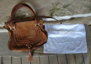 Vintage Chloe Large Suede Leather Trim Shoulder Bag Tassel W/Cloth Bag Authentic