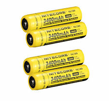 4 PACK NEW NITECORE 18650 NL189 3400 mah Rechargeable Battery Li-ion Protected