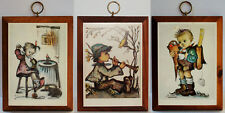 3 Vintage Hummel Prints on Wood Plaques_ Wall Hangings