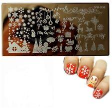 Arte en uñas placa de imagen Planchas para Estampar Navidad Copos de nieve hombres pan de jengibre (SPH4)