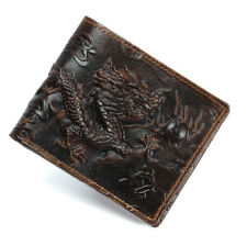 Cowhide Travel Purse Cow Genuine Leather Men's Wallet Dragon Brown Bifold Wallet