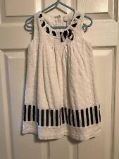 Girls Size 5 White/Navy Dress