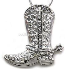 Lucky Star Texas Western Cowboy Cowgirl Boots Pendant Necklace High Polish Charm