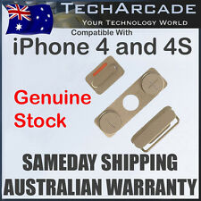 iPhone 4 4G 4S Mute Silent Vibrate Volume Power On Off Silver Metal Button Set