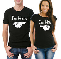His and Her T-shirts set I/'m Hers and I/'m His with mickey pointing hands