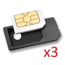 3x MicroSIM To SIM Card Adapters For iPad BlackBerry iPhone 3GS UK BASED SELLER!